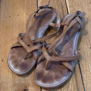 Light brown, Born strappy sandals, size 7.
